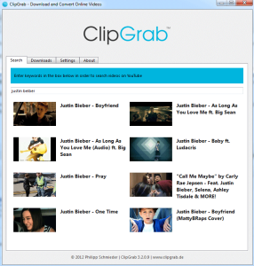 clipgrab download youtube videos screenshot 1 built-in youtube search