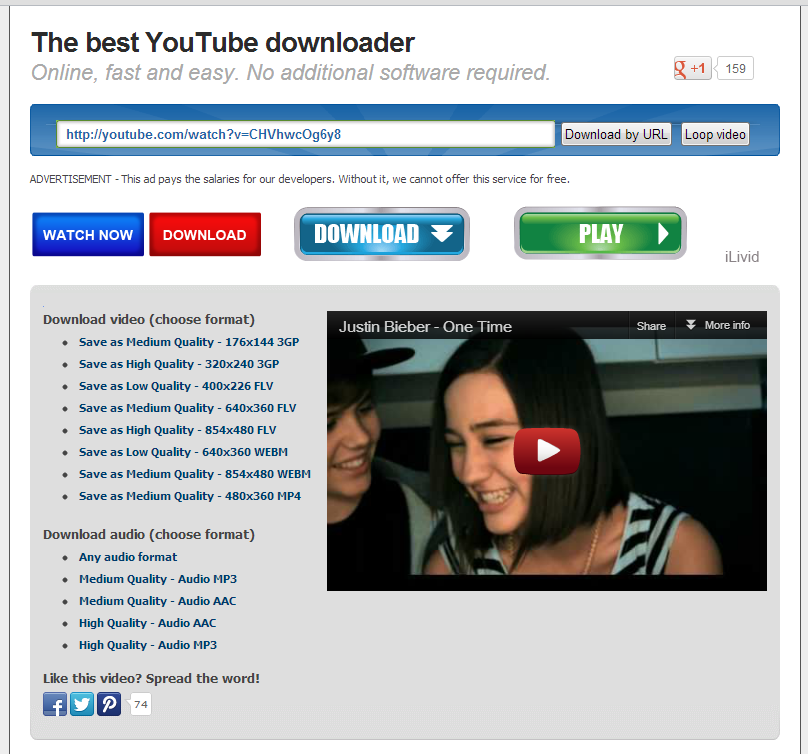 keep-tube.com screenshot 2 free youtube downloader website keeptube