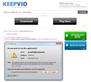 keepvid.com download youtube videos chrome warning