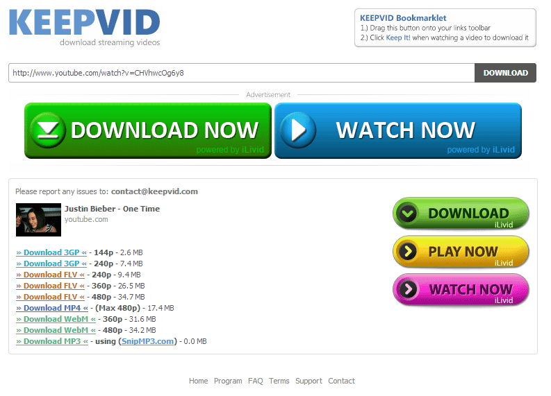 keepvid download youtube videos select quality method screenshot 3
