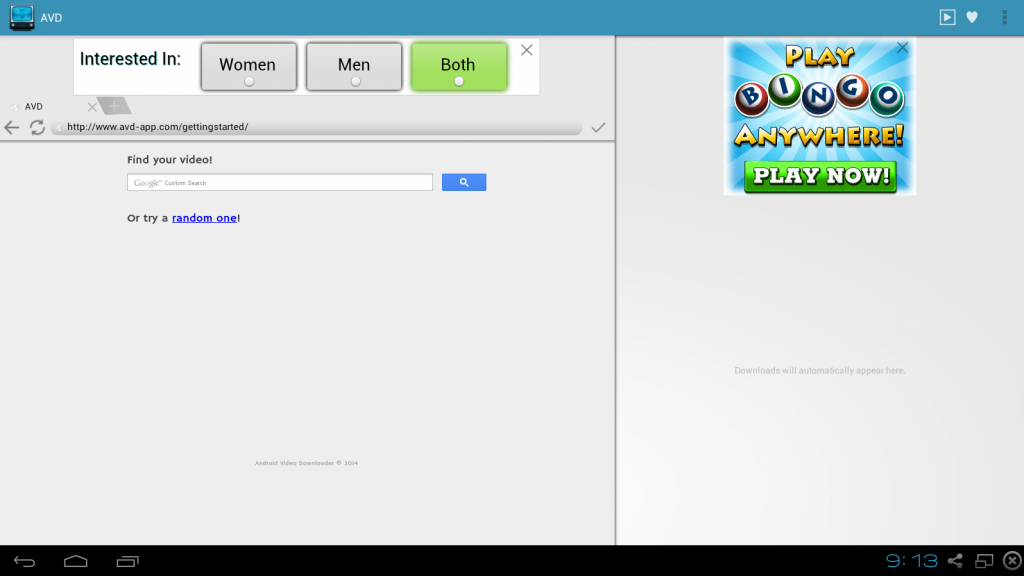 avd android video downloader review testing screen 1 initial after app install