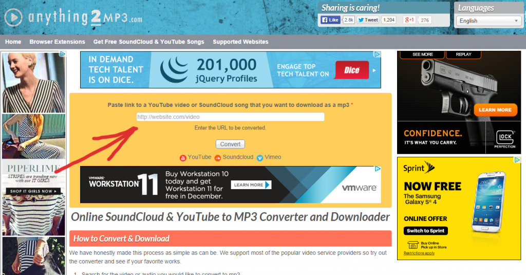 anything2mp3.com anything 2 mp3 convert any online video to audio and save home page