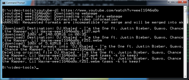cmd with youtube-dl downloaded justin bieber video
