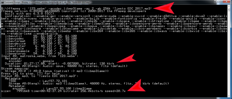 ffmpeg convert video audio to mp3