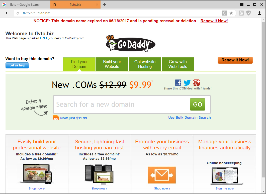 flvto.com redirects to flvto.biz which shows godaddy domain expired page