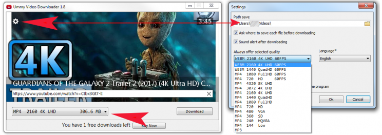 ummy video downloader step 2 download youtube video 4k 2160p
