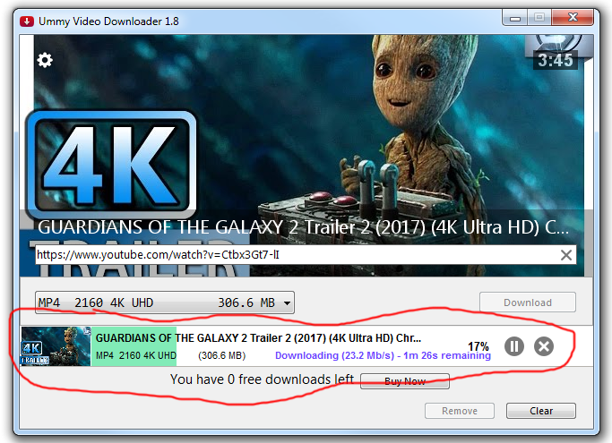 ummy video downloader step 3 actual download process 4k video