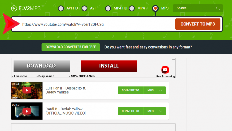 FLV2MP3 - Free YouTube Downloader and Converter