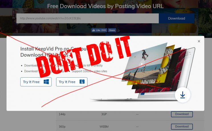 keepvid.com download online video tutorial step 3 avoid 1080p download - offering KeepVid Pro paid software