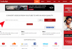 theyoump3,com download conver youtube to mp3 step 1 index page