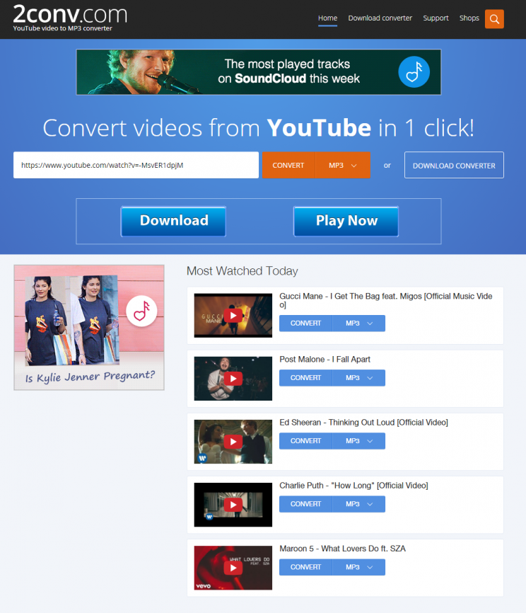 2conv.com review tutorial youtube converter step 1 open front page