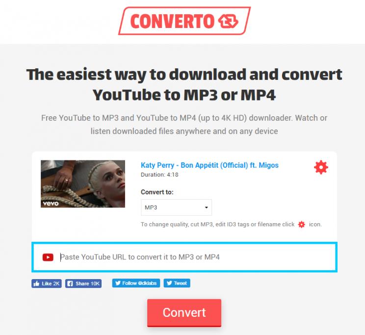 converto.io youtube to mp3 converter step 2 enter video url