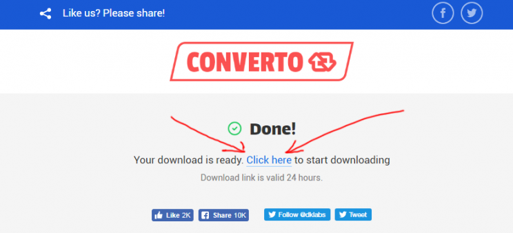 converto.io youtube to mp3 converter step 3 download video link