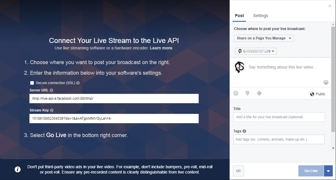 How to Go Live on facebook with pre-recorded Video File using FFMpeg