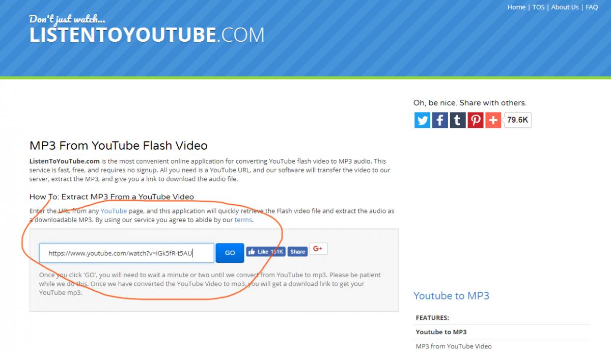 listentoyoutube.com tutorial step 1 insert youtube url
