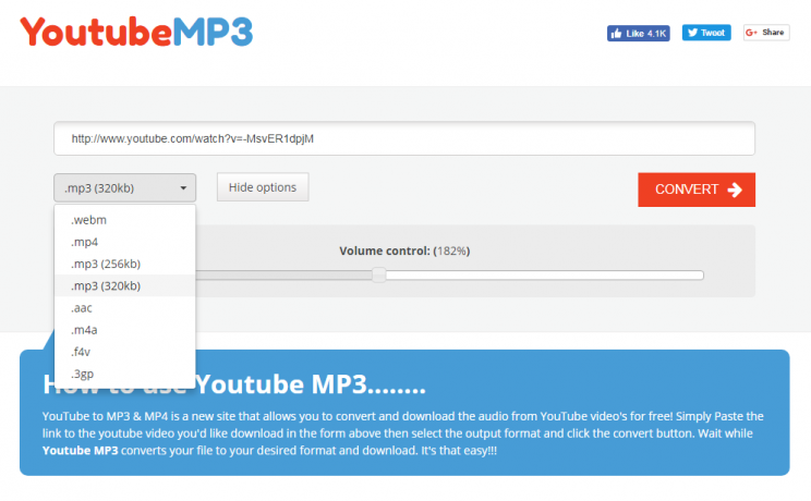 youtubemp3.to quick tutorial and review convert youtube to mp3 step 2 select conversion format and options