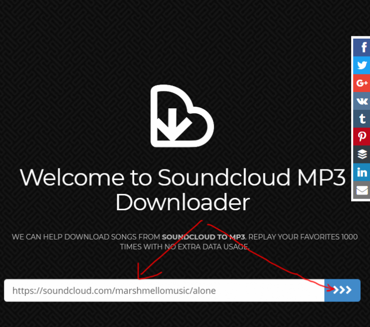 SoundcloudIntoMp3.com download tracks from soundcloud tutorial step 2 enter sond url press blue button