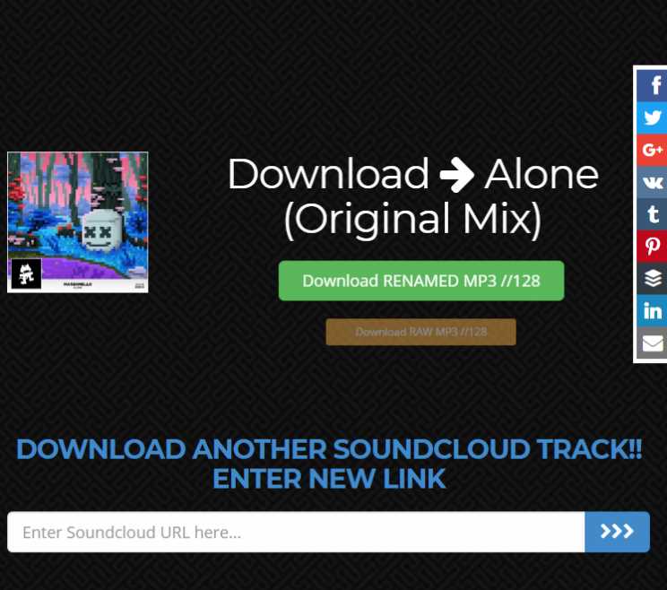 SoundcloudIntoMp3.com download tracks from soundcloud tutorial step 3 check the right info see download buttons