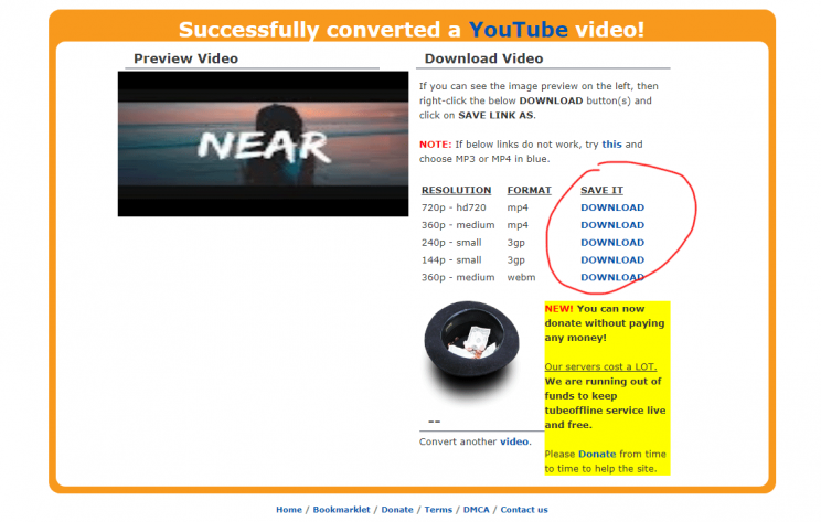 TubeOffline.com review tutorial bad user experience step 7 download links shown on requested mp3 conversion