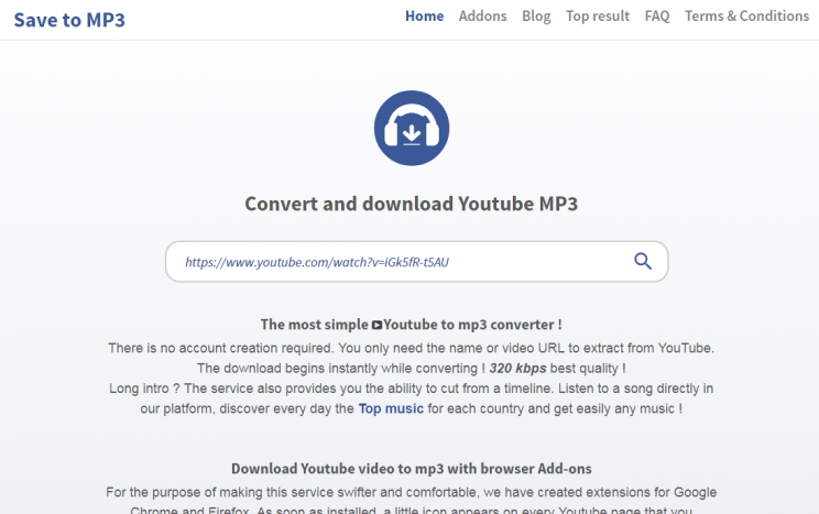 savetomp3.com quick tutorial save youtube to mp3 step 3 front page with video url