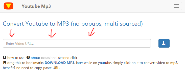 youtubemp3.today tutorial download youtube2mp3 step 1 front page