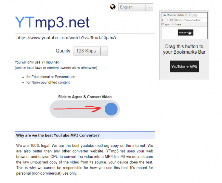 ytmp3.net youtube mp3 client side converter review tutorial step 2 put video url and slide the blue button