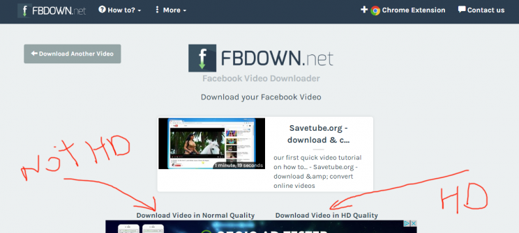 fbdown.net review tutorial download facebook video step 3 right click on download link and select save as