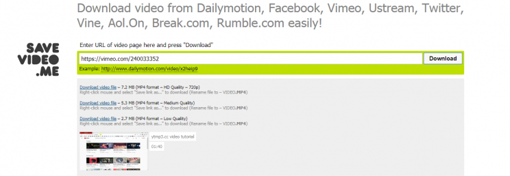 savevideo.me review tutorial no youtube step 3-try vimeo link download chose the format