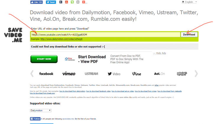 savevideo.me review tutorial no youtube step 2 try youtube link download