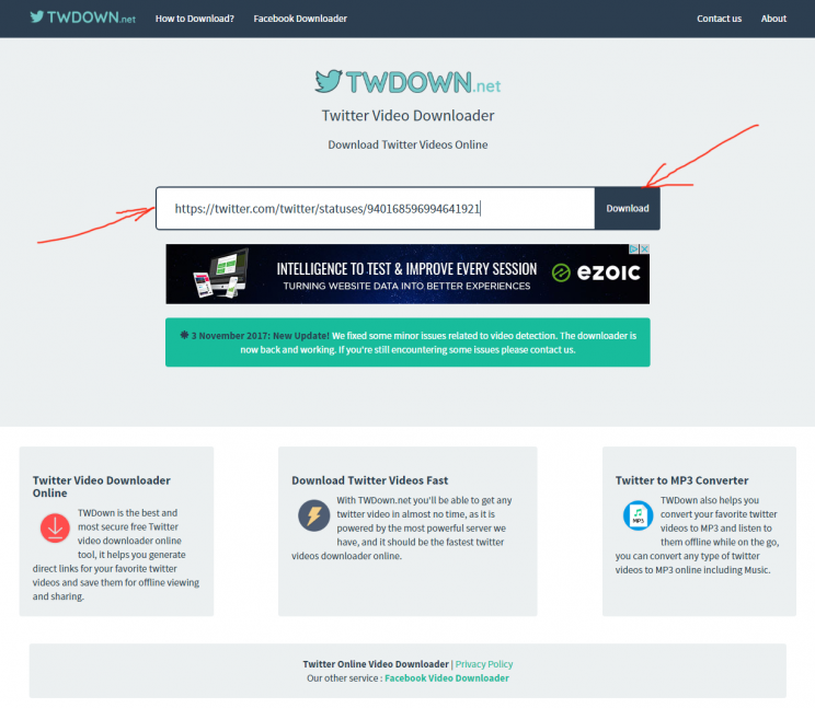 twdown.net twitter video downloader review tutorial step 2 enter video URL on twdown and press download