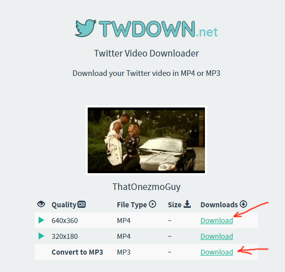 twdown.net twitter video downloader review tutorial step 3 select format to download and click download link