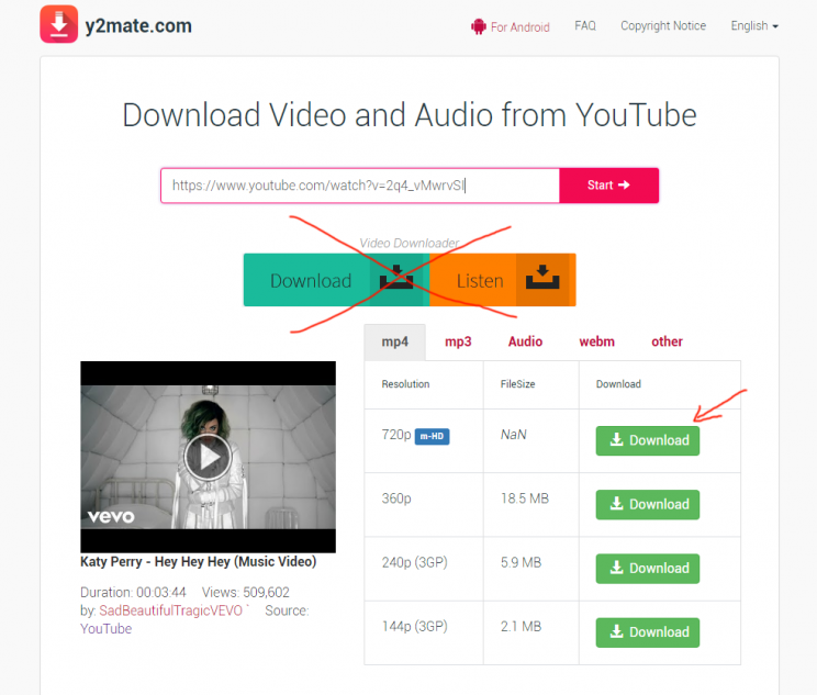 y2mate.com review youtube mp4 mp3 downloader tutorial step 2 select video download format HD 720p