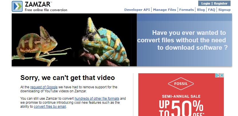 zamzar.com review tutorial step 3 youtube converter fail