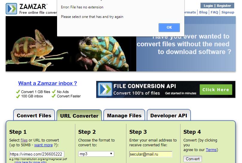zamzar.com review tutorial step 4 vimeo conversion fail