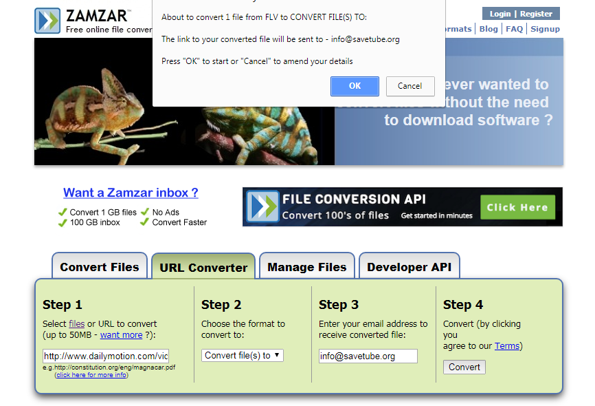Zamzar review tutorial total fail on youtube or vimeo downloads zamzar review tutorial step 5 about to conert dailymotion video ccuart Images