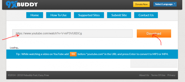 9xBuddy review tutorial step 2 enter video URL and click download