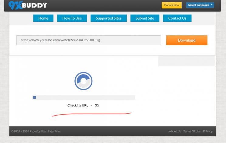 9xBuddy review tutorial step 3 checking URL processing links