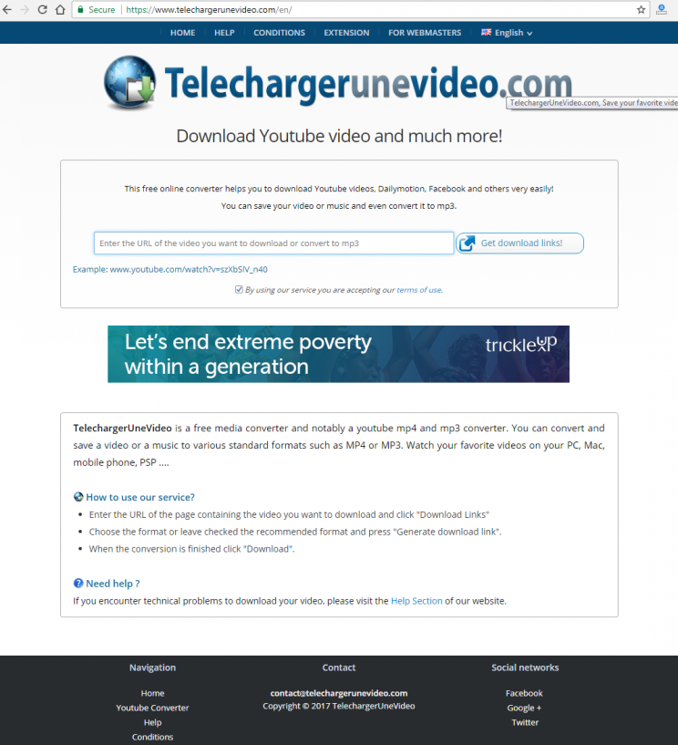 TelechargerUneVideo.com download youtube convert to mp3 tutorial step 1 open front-page