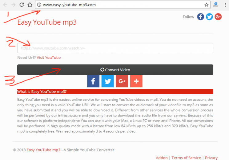 easy-youtube-mp3.com review and tutorial step 1 open fron page