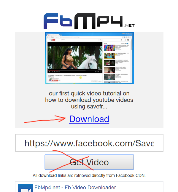 fbmp4.net review tutorial step 2 make sure its the right video and click Download link