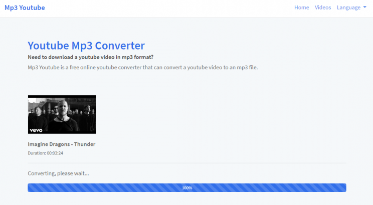 mp3-youtube.download review and tutorial step 2 enter video URL and submit - converting process