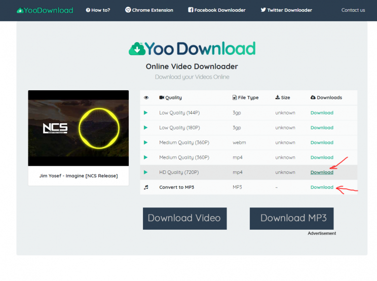 yoodownload.com review and tutorial step 3 choose the format and download