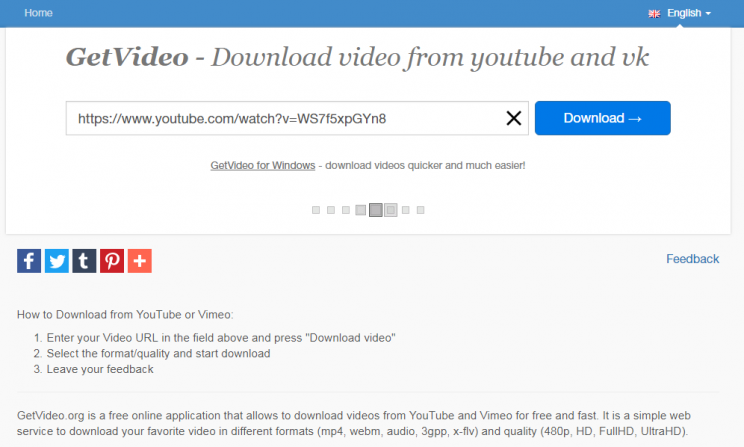 Getvideo.org Review Tutorial step 2 enter the link working indicator