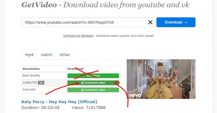 Getvideo.org Review Tutorial step 5 now go for the second option 720p HD