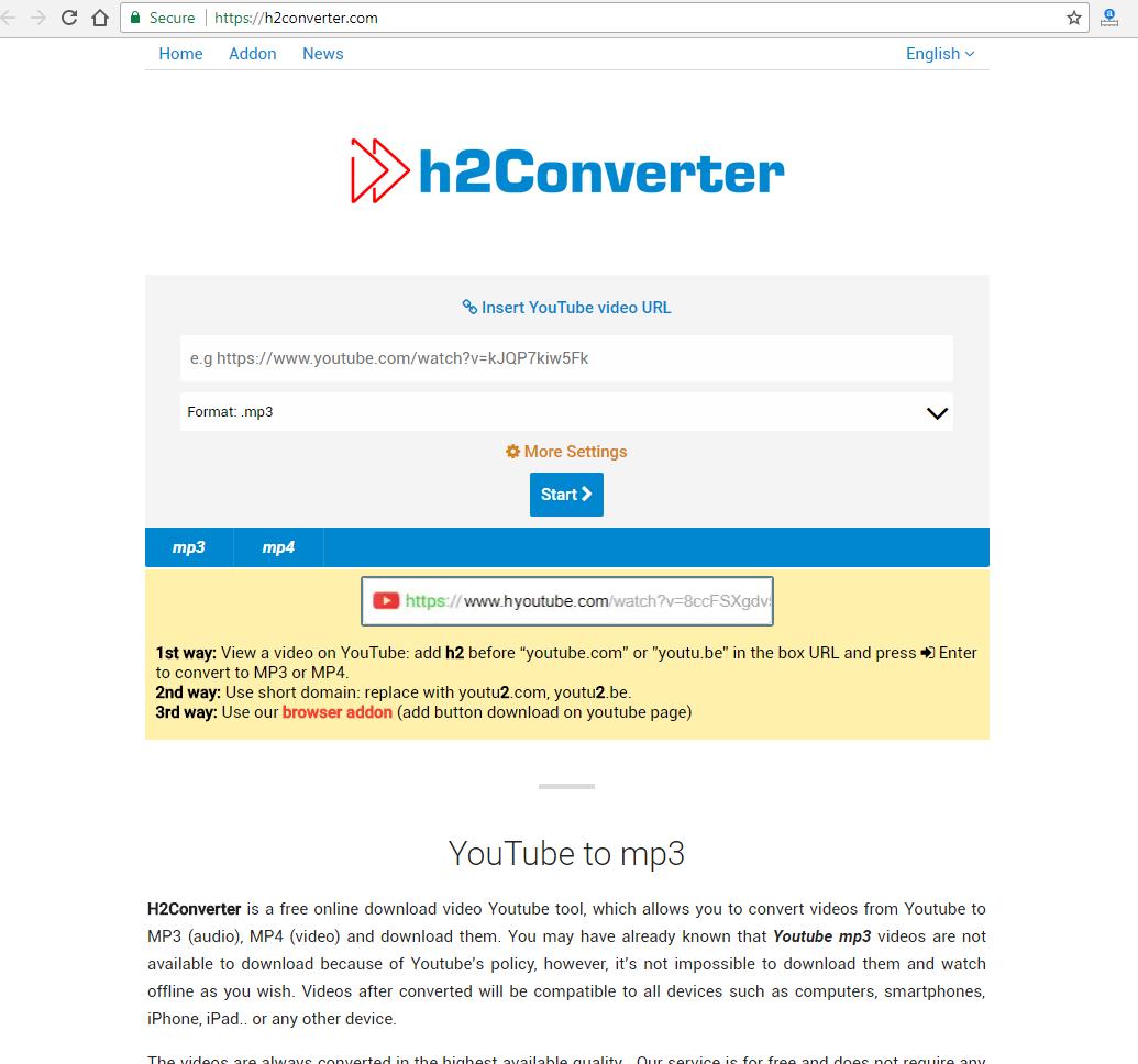 H2Converter com - nice quick site to download & convert
