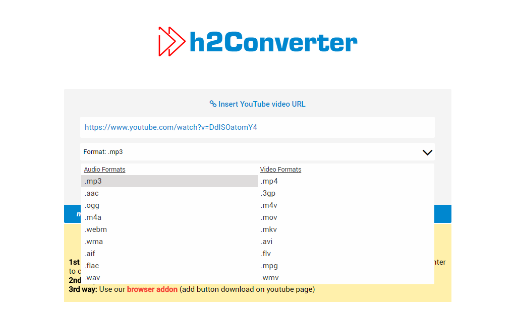 h2converter com tutorial step 2 pick conversion format and