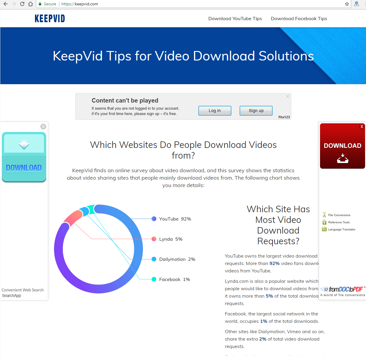 cant download youtube videos with keepvid