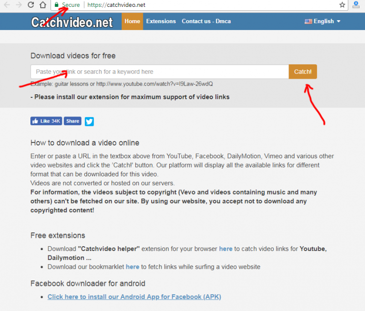 catchvideo.net review and tutorial step 1 open front page