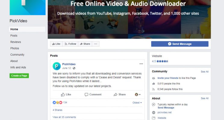 pickvideo.net website doesn't work anymore facebook proof post
