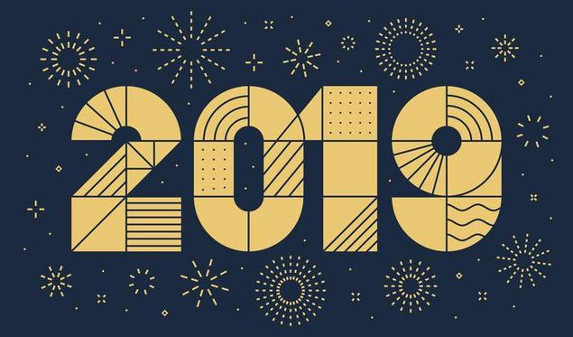 2019 New year greeting card with fireworks. Minimalist style, geometric thin outline.